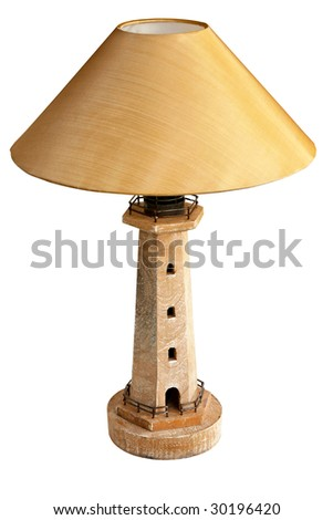 Vintage lighthouse lamp isolated included clipping path - stock photo