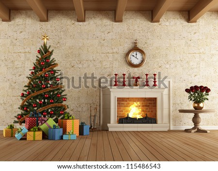 Vintage living room with christmas tree gift and fireplace - rendering - stock photo