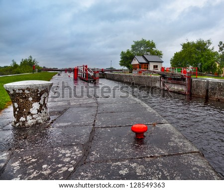 Vintage lock on Shannon river - stock photo