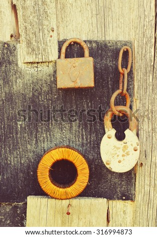 vintage locks and wire - stock photo