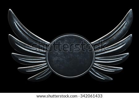 Vintage logo metal Wings on black background. 3d render - stock photo