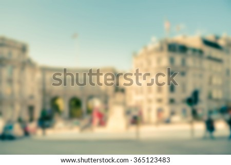 Vintage London street scene blur - stock photo