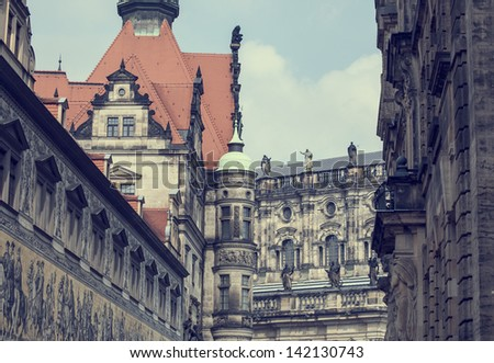 Vintage look of old town of Dresden city, Germany - stock photo