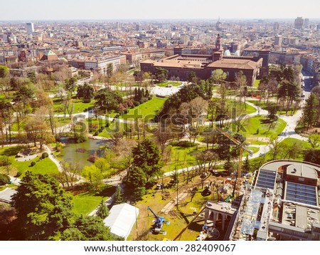 Vintage looking Aerial view of Parco Sempione park in the city of Milan in Italy - stock photo