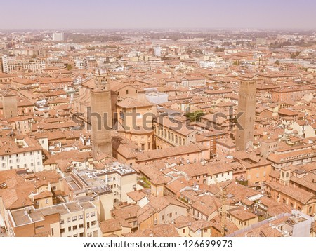 Vintage looking Aerial view of the city of Bologna in Emilia Romagna Italy - stock photo