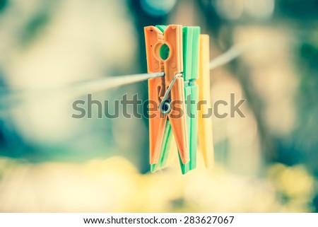 Vintage looking clothespins - stock photo