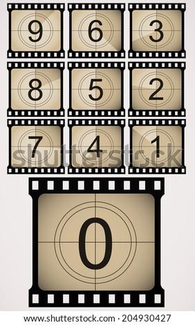Vintage looking countdown numbers. - stock photo