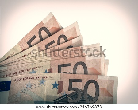 Vintage looking Euro bank notes money European Union currency - stock photo