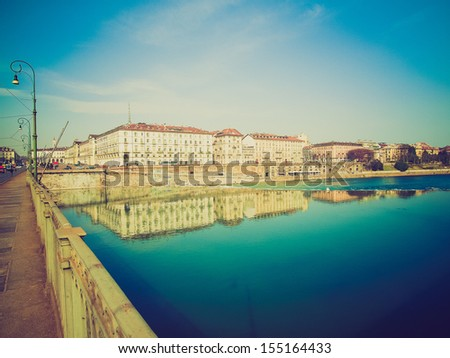 Vintage looking Fiume Po (River Po) in Turin, Italy - stock photo