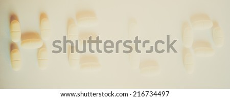 Vintage looking Help written with medical pills - stock photo