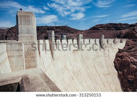 Vintage looking image of the Hoover Dam - stock photo
