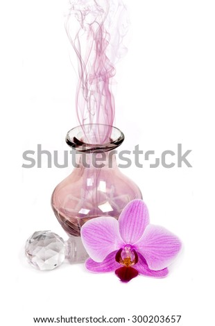 Vintage-looking perfume bottle with airbag sprayer.  - stock photo