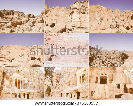Vintage looking Set of pictoresque views of the ruins of Beidha in Jordan - stock photo