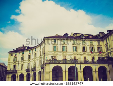 Vintage looking The Piazza Vittorio Emanuele II square in Turin Italy - stock photo