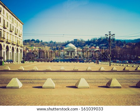 Vintage looking The Piazza Vittorio Emanuele II square in Turin, Italy - stock photo