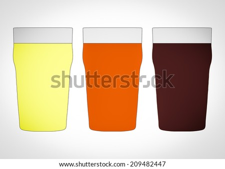 Vintage looking Three pints of British beer including lager, bitter and stout - stock photo