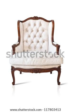 Vintage luxury White  sofa Armchair isolated on white background - stock photo