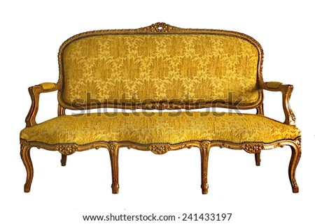 vintage luxury yellow sofa isolated on a white background   - stock photo