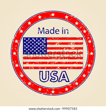 Vintage Made in USA Illustration - stock photo