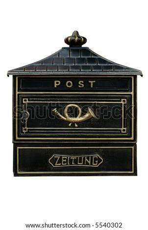 Vintage mail box,isolated on white,clipping path included - stock photo