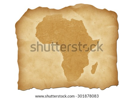 Vintage map of Africa with antiqued edges. Isolated image illustration. - stock photo