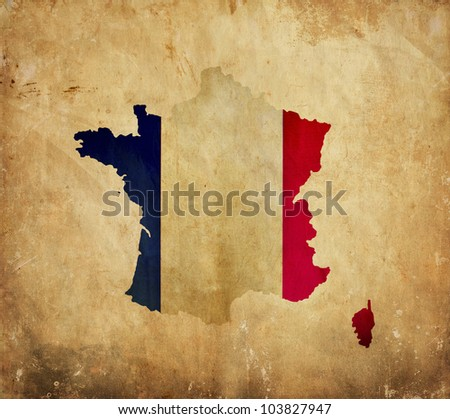 Vintage map of France on grunge paper - stock photo