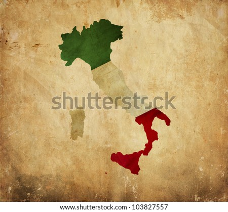 Vintage map of Italy on grunge paper - stock photo