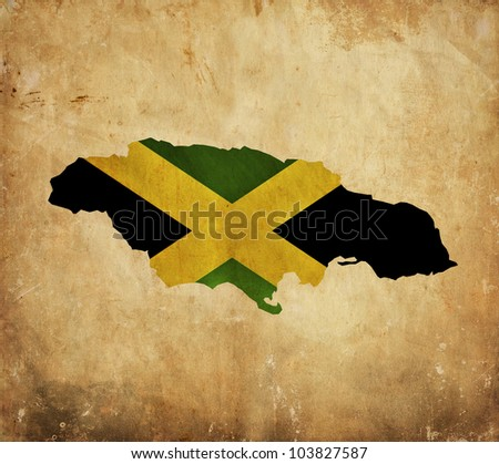Vintage map of Jamaica on grunge paper - stock photo