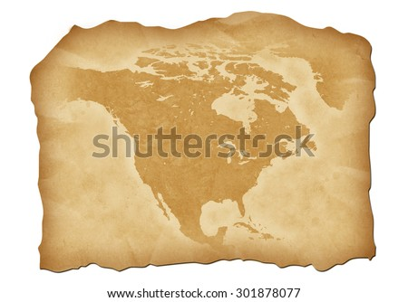 Vintage map of North America with antiqued edges. Isolated image illustration. - stock photo