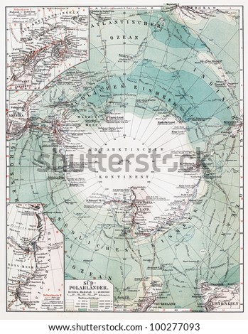 Vintage map of South Pole at the beginning of 20th century - Picture from Meyers Lexicon books collection (written in German language) published in 1908, Germany. - stock photo