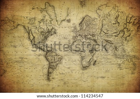 vintage map of the world 1814 - stock photo