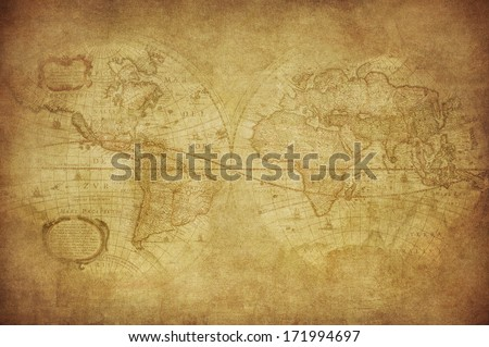 vintage map of the world 1630  - stock photo