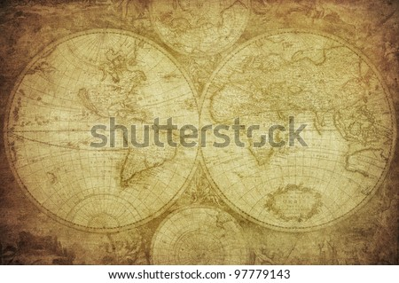 vintage map of the world 1675 - stock photo