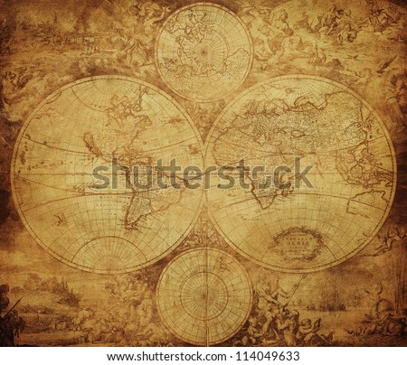vintage map of the world circa 1675-1710 - stock photo
