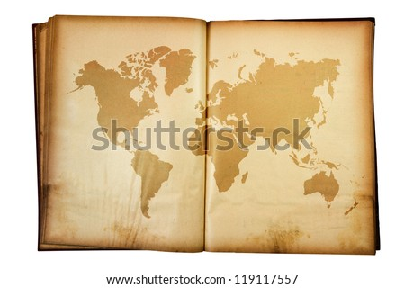 vintage map of the world on Old book isolated on white background - stock photo