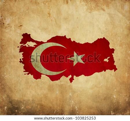 Vintage map of Turkey on grunge paper - stock photo