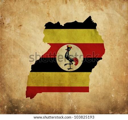 Vintage map of Uganda on grunge paper - stock photo