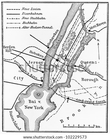 Vintage map of Underground railway network of  New York at the end of 19th century - Picture from Meyers Lexikon book (written in German language) published in 1908 Leipzig - Germany. - stock photo