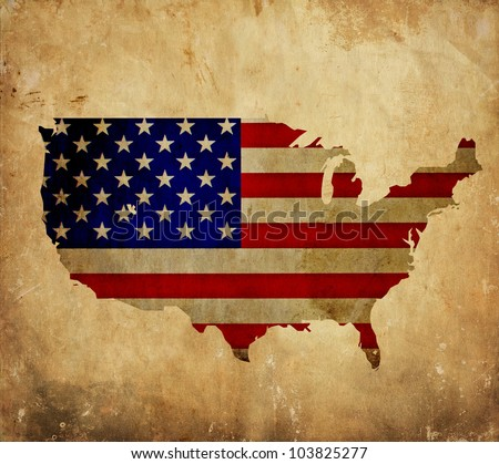 Vintage map of United States of America on grunge paper - stock photo