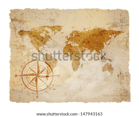vintage map with compass background - stock photo