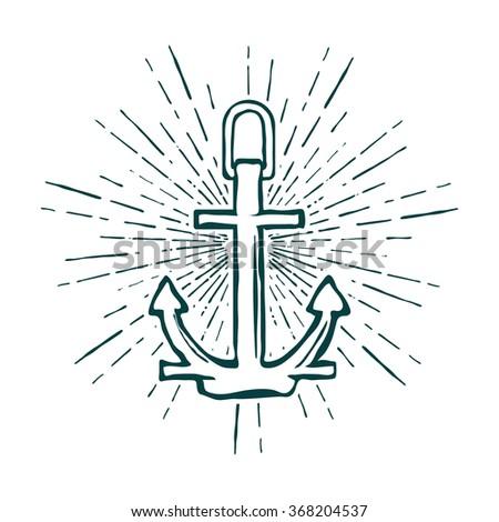 Vintage Marine Anchor isolated engrave. illustration - stock photo