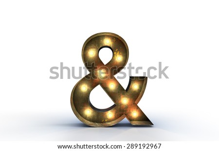 Vintage marquee light ampersand 3D symbol, and typography isolat - stock photo