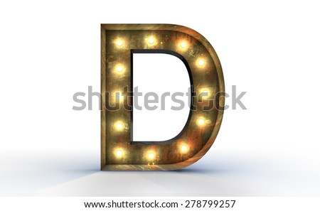 Vintage marquee light D alphabet sign, typography isolated on white background - stock photo