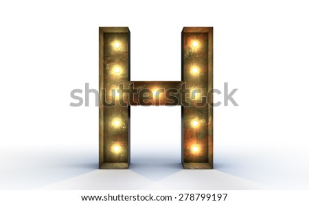 Vintage marquee light H alphabet sign, typography isolated on white background - stock photo