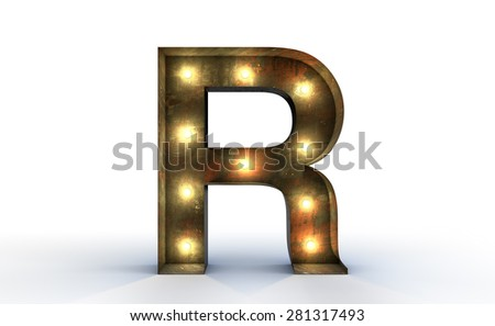 Vintage marquee light Q alphabet sign, typography isolated on white background - stock photo