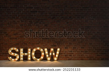 Vintage marquee light show sign, typography on brick wall 3d render - stock photo