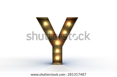 Vintage marquee light Y alphabet sign, typography isolated on white background - stock photo