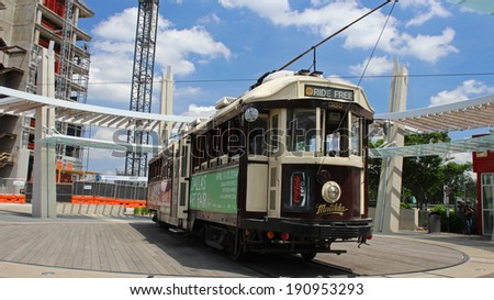 VINTAGE MCKINNEY TROLLEY RIDE, DALLAS APR 23: Matilda is one of 5 trolley cars of the McKinney Avenue Transit System. Ride-the-rails is convenient to get around in Uptown Dallas Texas April 23rd 2014 - stock photo