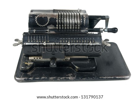 Vintage mechanical adding machine - stock photo
