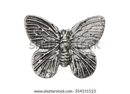 Vintage metal butterfly, isolated on white - stock photo